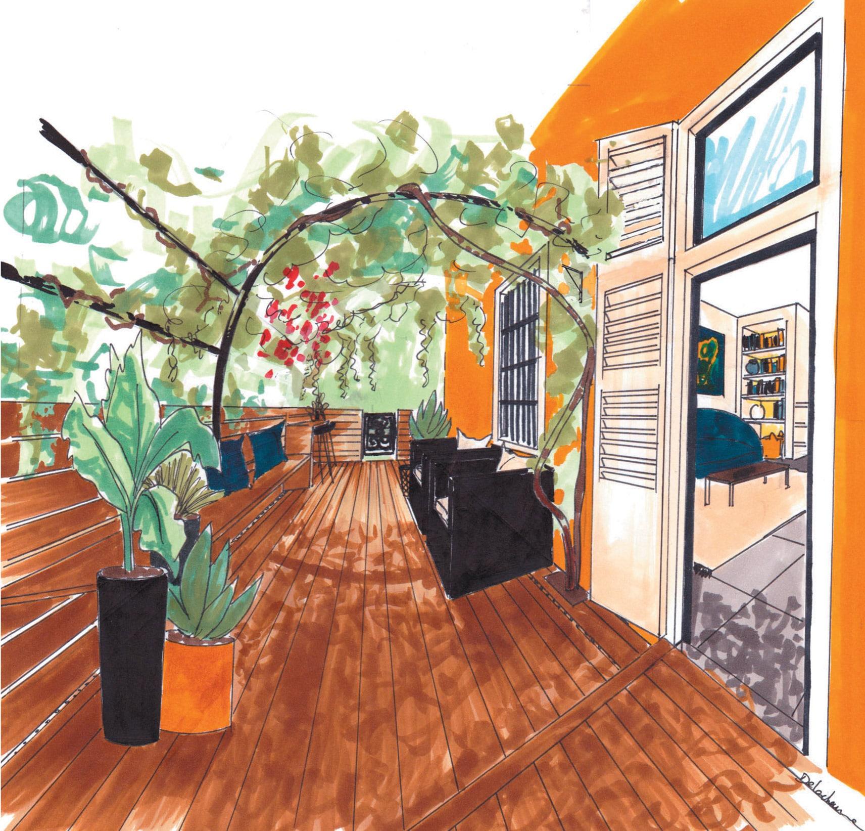 Croquis de la terrasse de l'appartement Villa Marceau à Cannes
