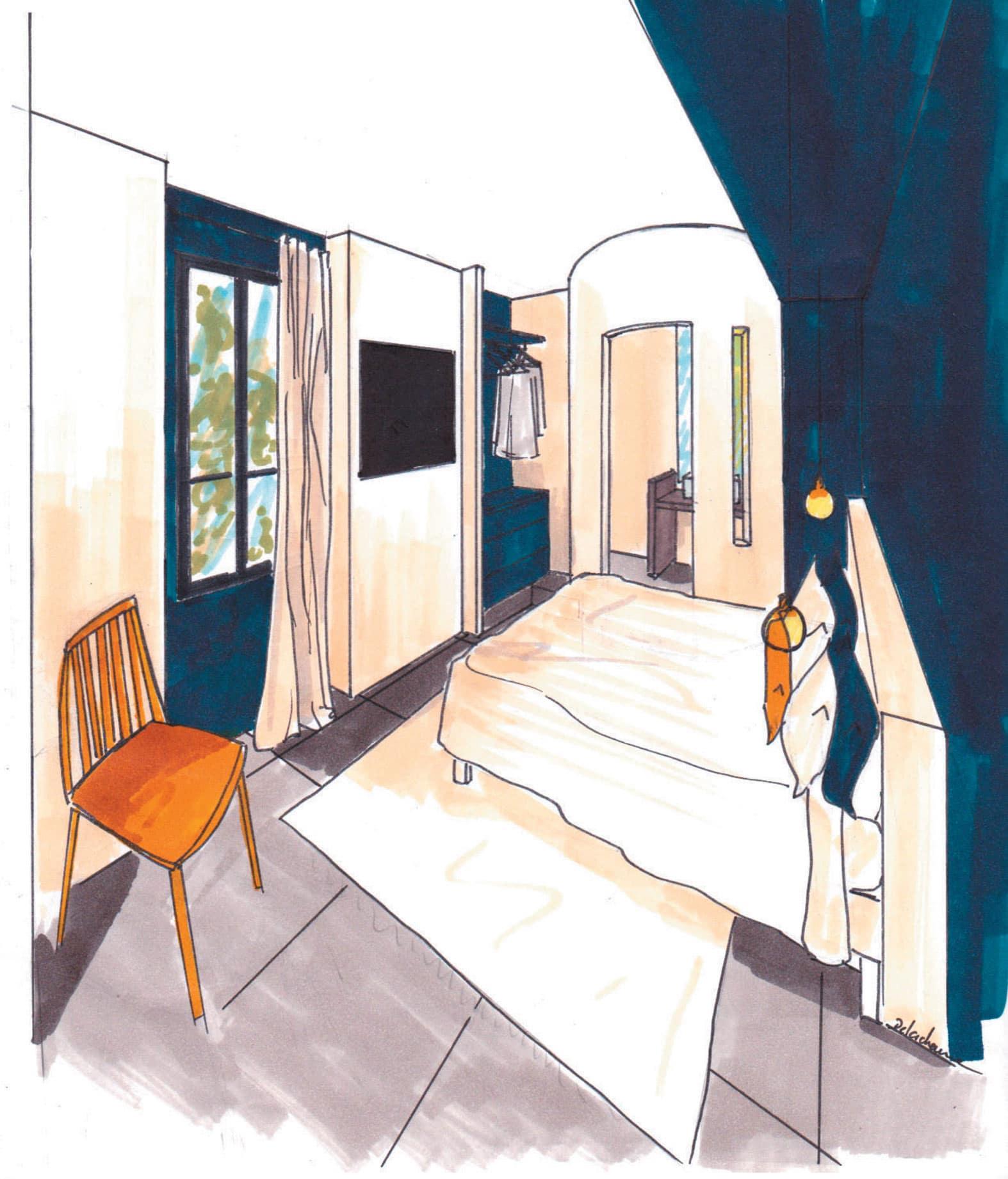 Croquis de la seconde chambre de l'appartement Villa Marceau à Cannes