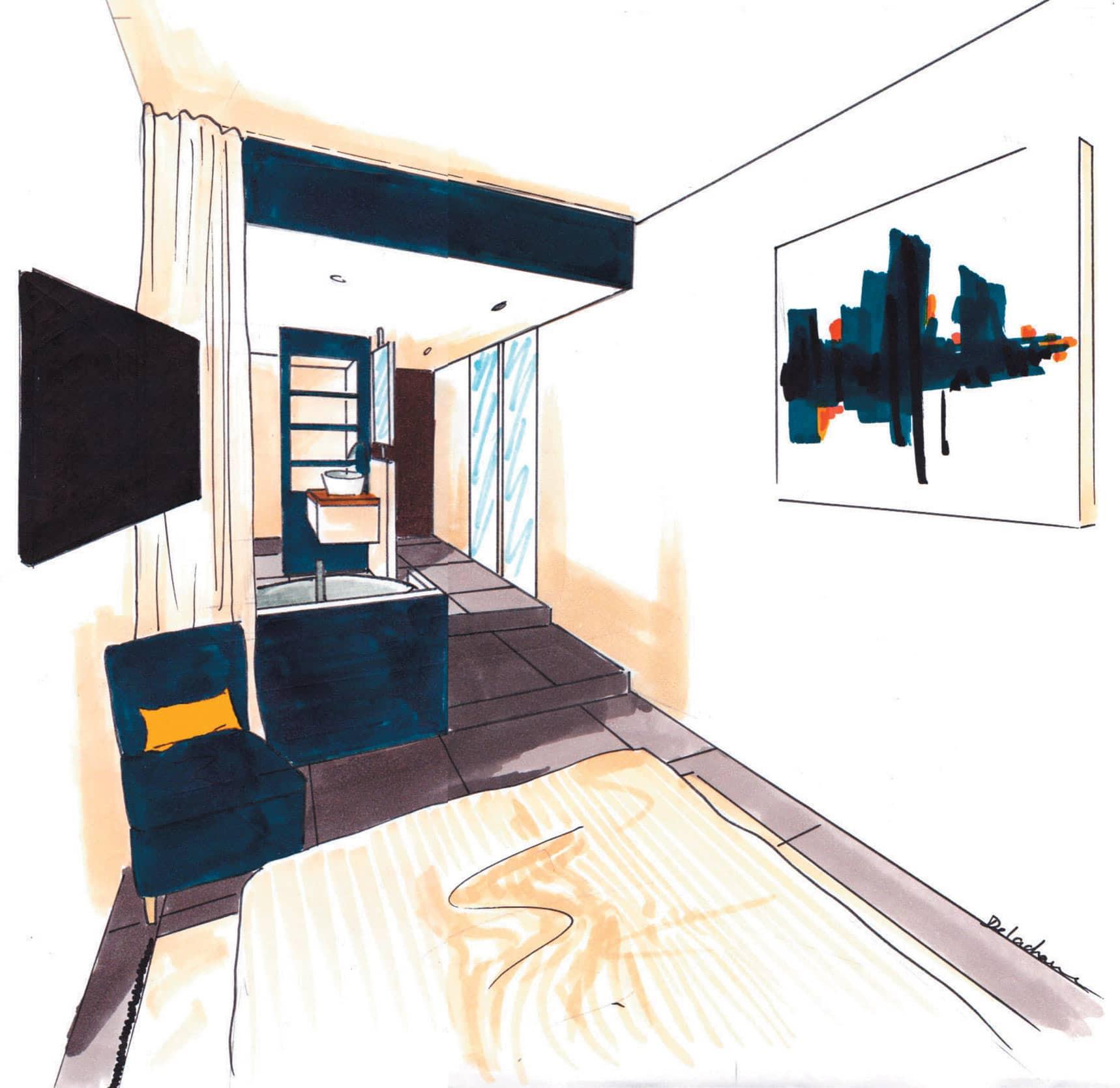 Croquis de la chambre de l'appartement Villa Marceau à Cannes